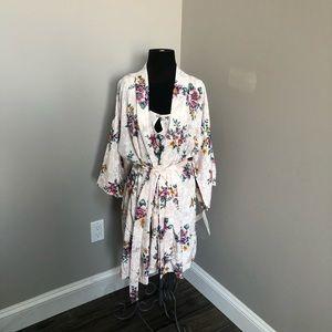 adonna robe & slip pink floral Vintage NWT large